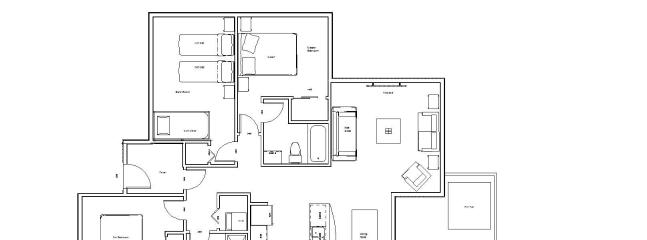 Our home is 1151 sq. feet on one level with an open concept main living area of nearly 400 sq. feet.
