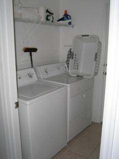 Laundry room - washer, dryer, iron, ironing board