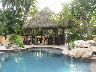 Tropical lagoon and Tiki hut at Casa Encantada