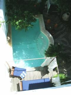 Birds eye view of pool and deck