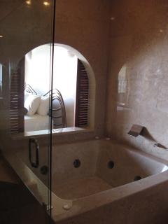 The Palms #7 Flamingo Beach Costa Rica, Master Bathroom Suite Jacuzzi with Views to Beach