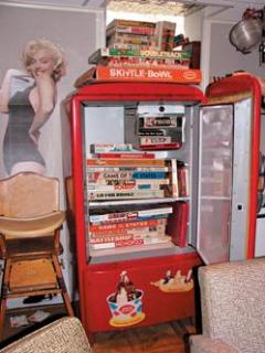 Cool Games in the Fridge...next to a hot Marilyn Monroe