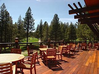 Enjoy a wonderful meal on the deck at The Lodge about one mile from the house