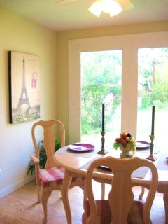 Dining Room Looks Out to Private Backyard