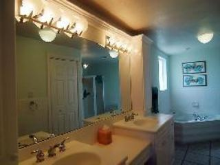 Huge his and hers bath with soaking tub and shower