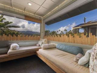 A view of the corner of the spacious Lanai~You can see the Mountain Suite on the Rt