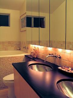 Master bath with Japanese soaking tub.
