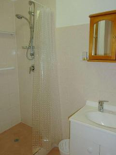 Harvester Home - bathroom with shower, hand held shower fitting, safety grab rails, vanity and