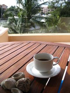 Morning coffee on the deck