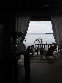 view from the kitchen into the bay
