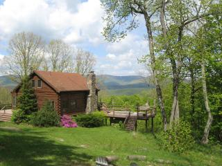 Mountaintop Log Cabin w Hot Tub & Gorgeous Views, Roxbury