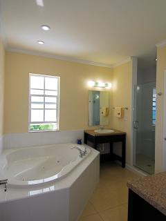 Master suite bathroom: seperate shower and seperate toilette, 2 wash basins