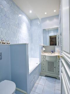 The blue bathroom for the Pompadour living room