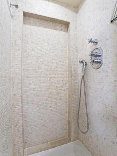 Shower made from italian marble for the main bedroom.