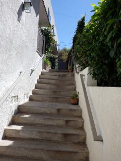 Gentle steps leading from parking to front door