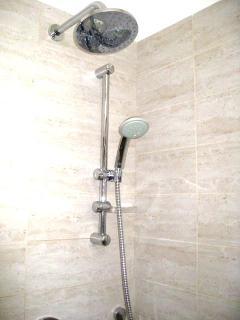 hand held and rain shower in master bathroom