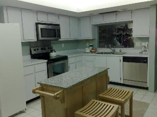Stainless steel appliances and portable island.