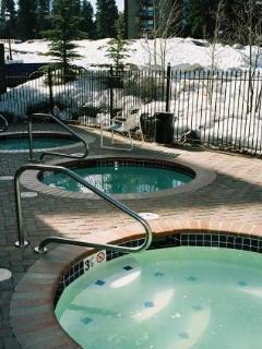 Three more hot tubs at the private Pioneer Club fitness facility.