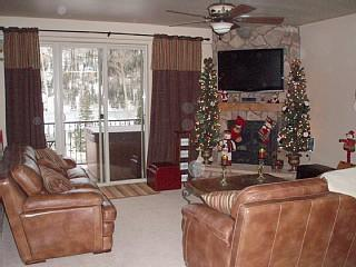Living room with 2 Christmas trees during the holidays