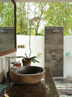 Bathroom with bamboo forest view