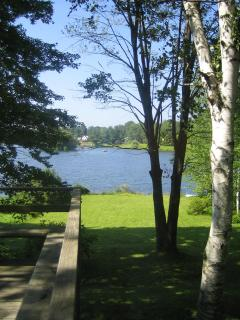 View of the lake and grounds from inside the house