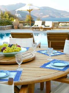Dining with Aegean sea view by the pool at the House of the Sky