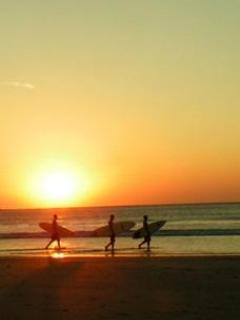 Sunset surfing just steps away