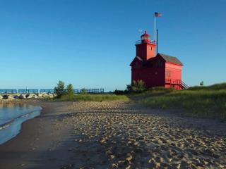 The Big Red Lighthouse and Private Lake Michigan Beach