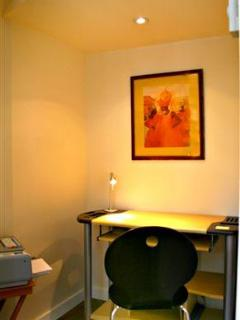 Office with desk and printer