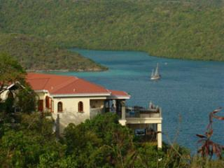 The villa is privately situated overlooking Hurricane Hole and Coral Bay.