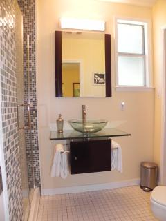 Private Bath off 3rd Bedroom with glass tile shower