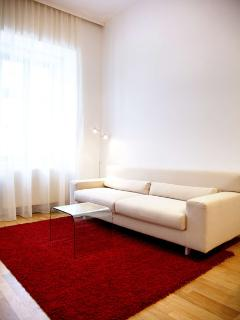 Sofa unfolds to double bed (160cm wide)