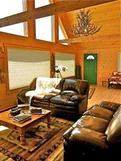 Mountain View Cabin. Brand new leather couches in the Great Room.