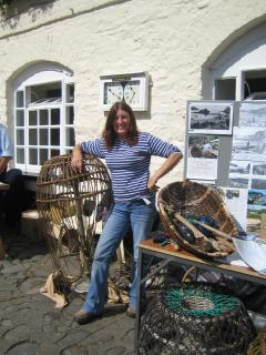 Sue demonstrating crabpot making