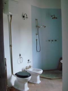 Ensuite bathroom 1 -open shower with brass fixtures