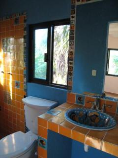 Upstairs bath, hand- painted- Talavera- tile