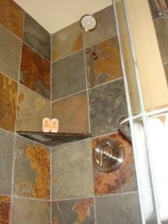 Slate Showers in Both Bathrooms Bring Sense of Luxury