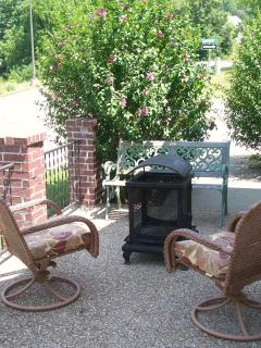 Firebox and Chairs on Patio
