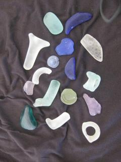 Seaglass collected in front of Seashell cottage
