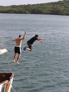 Guests love jumping off the roof of our trawler boat!