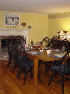Oak table in dining room seats 10