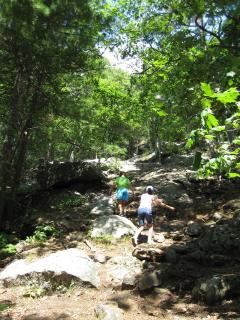 in Camden, hiking up Mt. Battie .6 mi, you could drive up, but it's only a 40 minute hike!