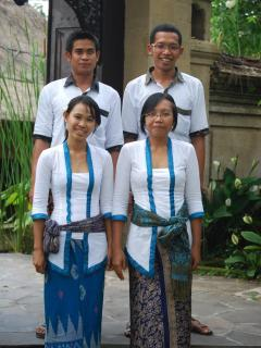 Some of the eight friendly Villa Santai Staff Members ready to cater to your vacation needs