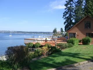 Beach House & Deck wth Mt. Rainier to the South