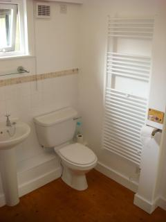 The bathroom with heated towel rail