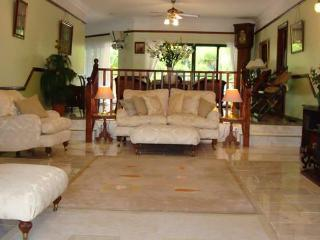 sunken lounge to formal dinning room chiligo marble floors and english furniture