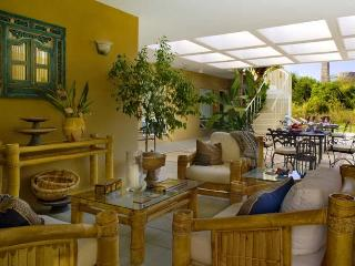Covered patio with casual lounge area