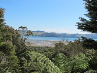 Late afternoon view from the kitchen looking across Coromandel Harbour to Te Kouma.