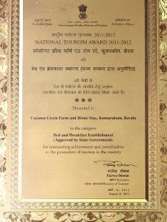 National Tourism award for best bed and breakfast in India