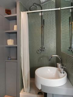The en suite bathroom shower